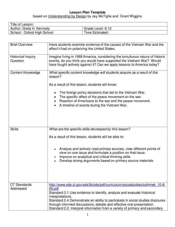 Lesson Plan Template <br />based on Understanding by Design by Jay McTighe and  Grant Wiggins<br />Title of Lesson:  Autho...