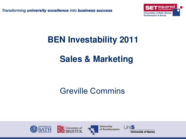 BEN Investability 2011  Sales & Marketing  Greville Commins