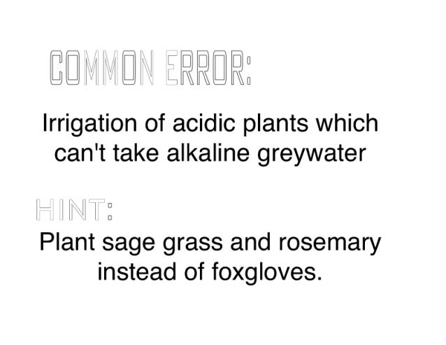 El        mil') til.    Irrigation of acidic plants which can't take alkaline greywater  . x  l ll ll 2 Plant sage grass a...