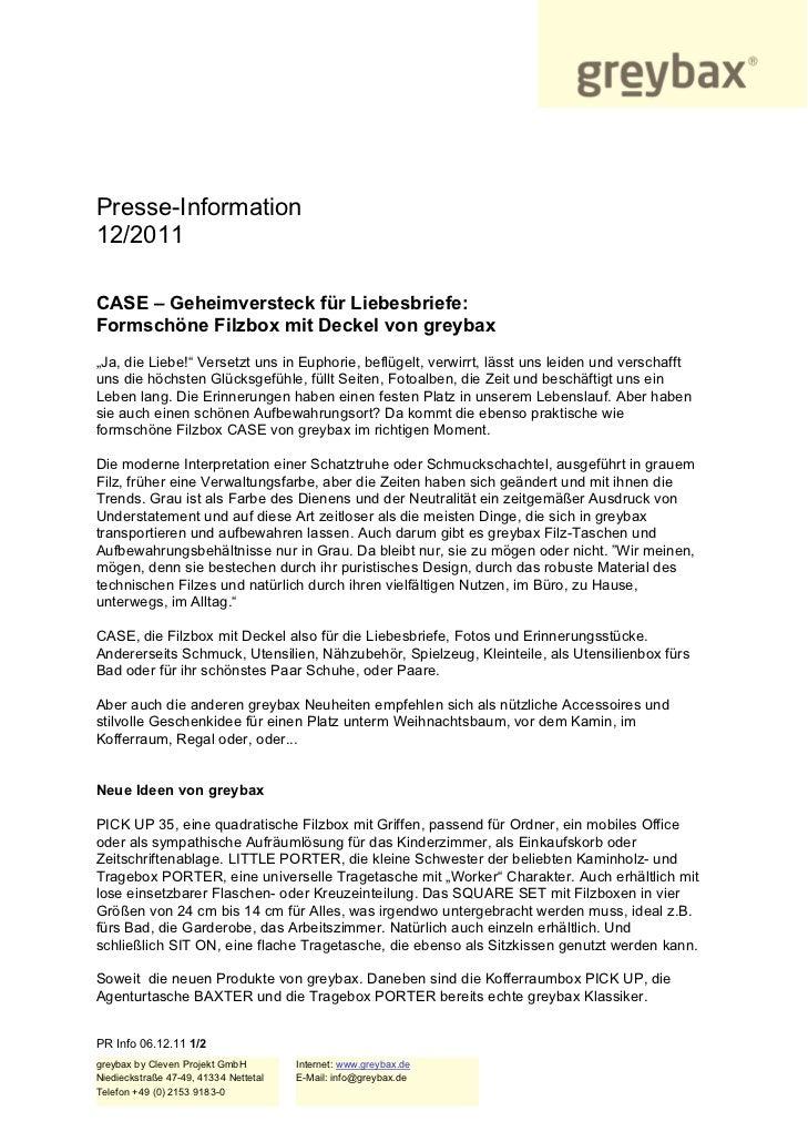 """Presse-Information12/2011CASE – Geheimversteck für Liebesbriefe:Formschöne Filzbox mit Deckel von greybax""""Ja, die Liebe!"""" ..."""