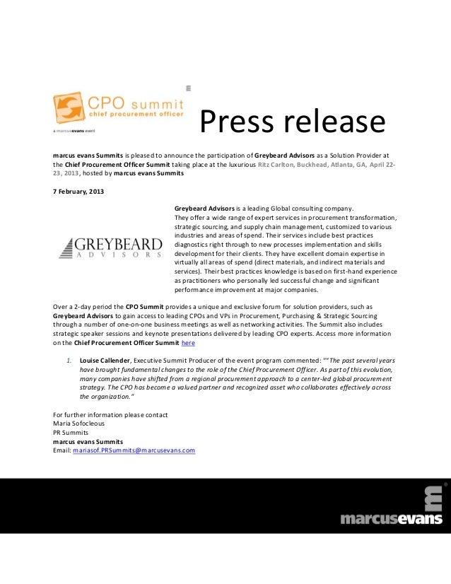 Press releasemarcus evans Summits is pleased to announce the participation of Greybeard Advisors as a Solution Provider at...