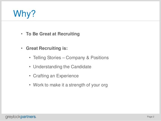 Recruiting: Good to Great Slide 2