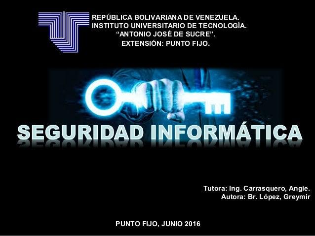 """REPÚBLICA BOLIVARIANA DE VENEZUELA. INSTITUTO UNIVERSITARIO DE TECNOLOGÍA. """"ANTONIO JOSÉ DE SUCRE"""". EXTENSIÓN: PUNTO FIJO...."""