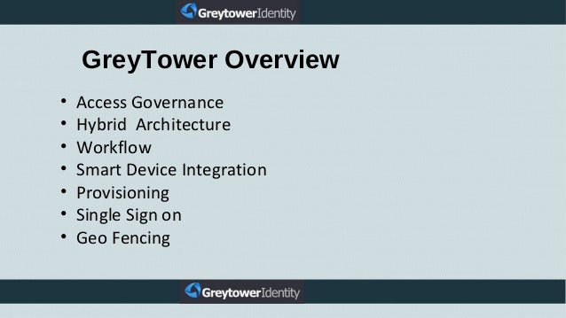 • Access Governance • Hybrid Architecture • Workflow • Smart Device Integration • Provisioning • Single Sign on • Geo Fenc...