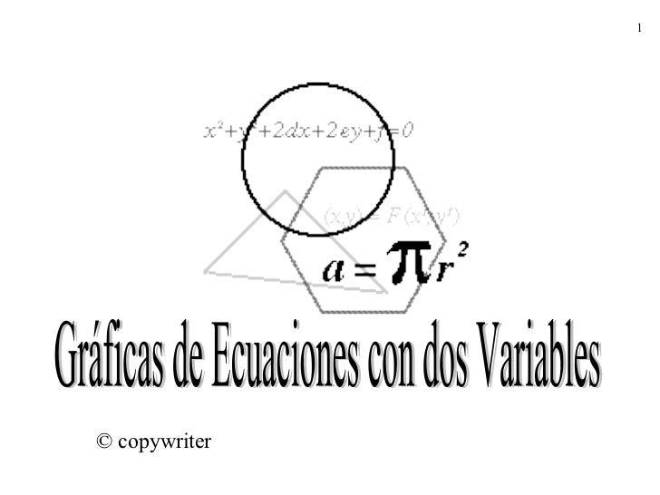 Gráficas de Ecuaciones con dos Variables © copywriter