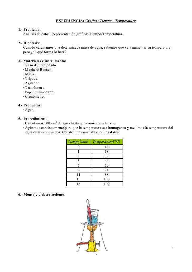 EXPERIENCIA: Gráfica: Tiempo - Temperatura1.- Problema:    Análisis de datos. Representación gráfica: Tiempo/Temperatura.2...