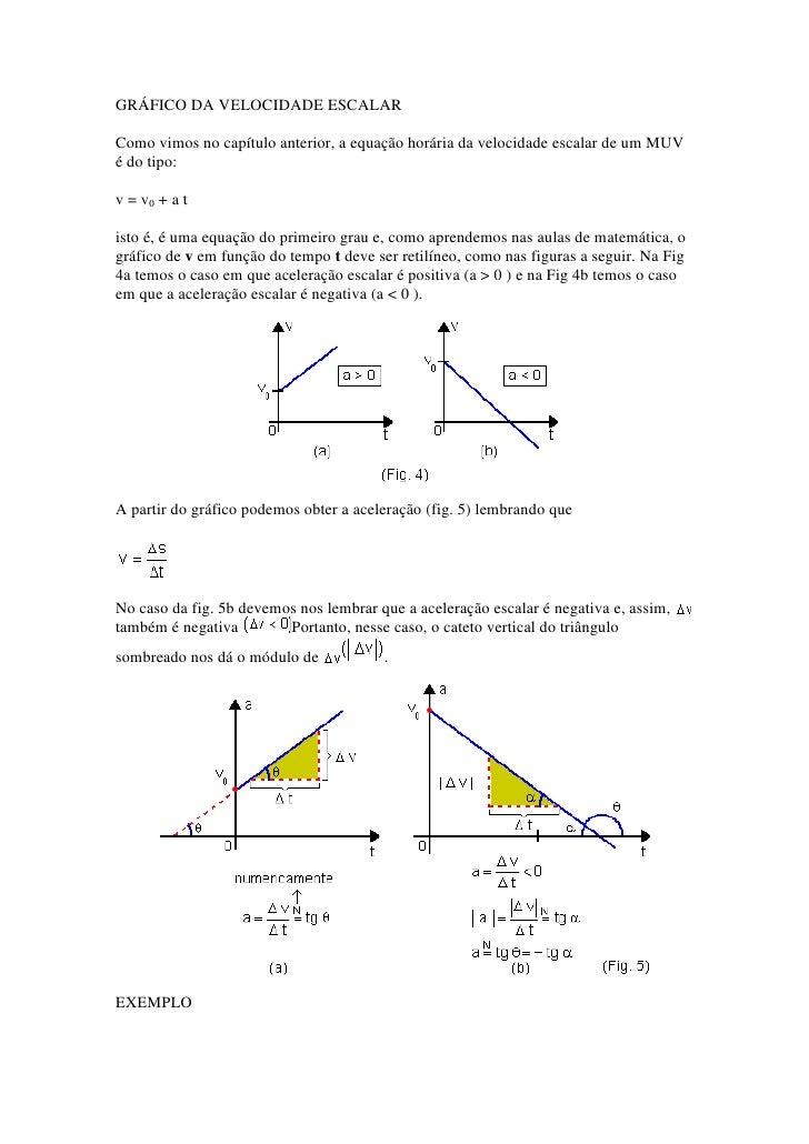 GRÁFICO DA VELOCIDADE ESCALAR<br />Como vimos no capítulo anterior, a equação horária da velocidade escalar de um MUV é do...