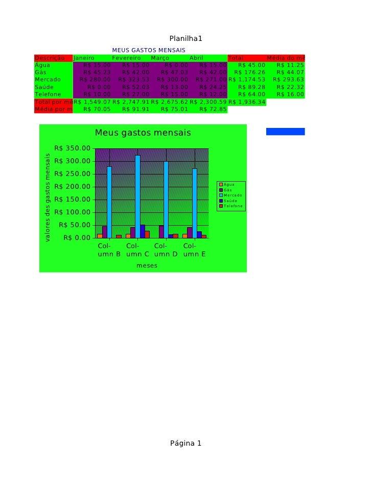 Planilha1                          MEUS GASTOS MENSAIS Descrição Janeiro        Fevereiro   Março       Abril       Total ...
