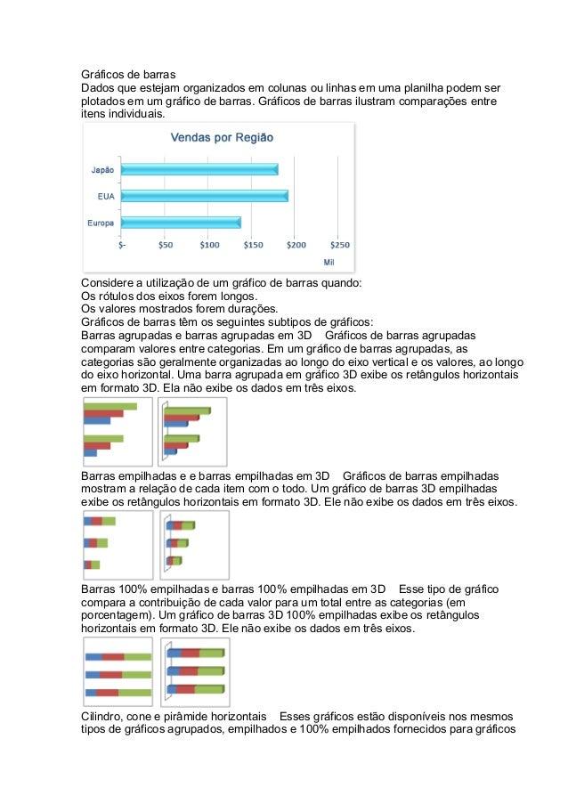 Gráficos de barras Dados que estejam organizados em colunas ou linhas em uma planilha podem ser plotados em um gráfico de ...