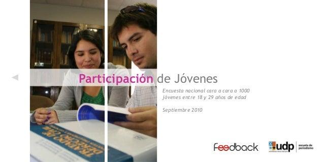 Encuesta nacional cara a cara a 1000 jóvenes entre 18 y 29 años de edad Septiembre 2010 Participación de Jóvenes
