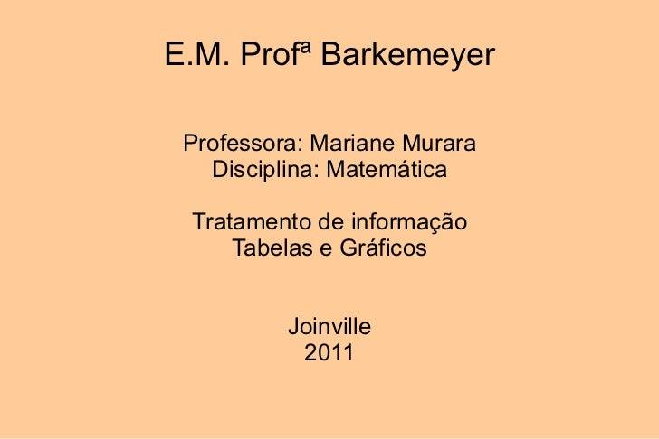 E.M. Profª Barkemeyer Professora: Mariane Murara Disciplina: Matemática Tratamento de informação Tabelas e Gráficos Joinvi...