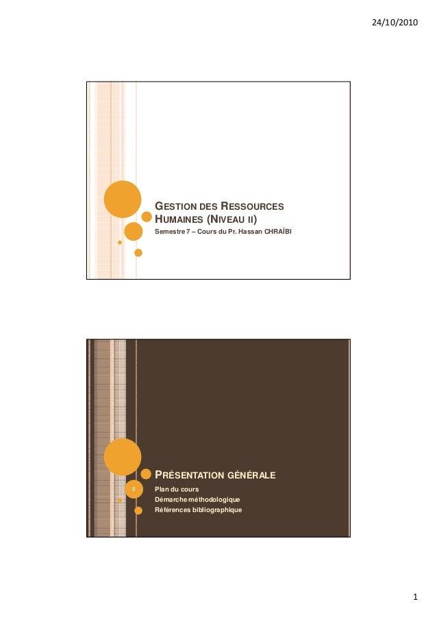 24/10/2010    GESTION DES RESSOURCES    HUMAINES (NIVEAU II)    Semestre 7 – Cours du Pr. Hassan CHRAÎBI    PRÉSENTATION G...