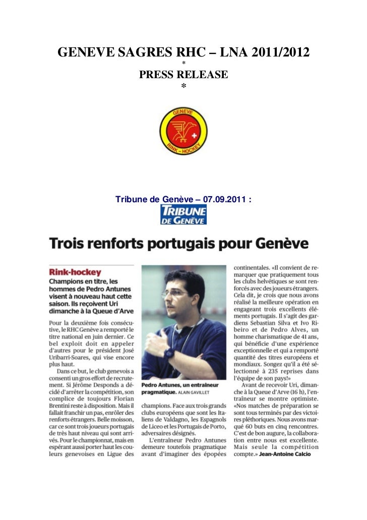 GENEVE SAGRES RHC – LNA 2011/2012                      *            PRESS RELEASE                   *       Tribune de Gen...