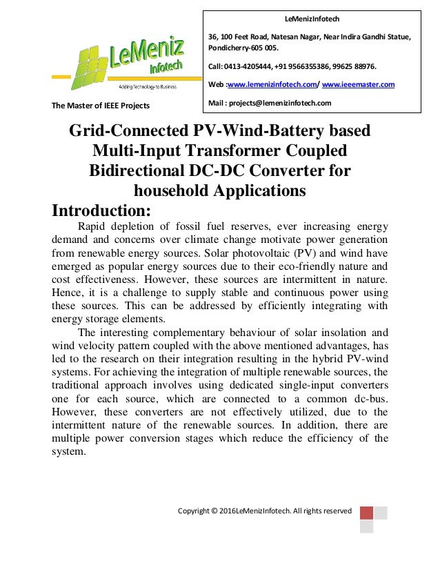 Grid connected pv-wind-battery based multi-input transformer coupled …