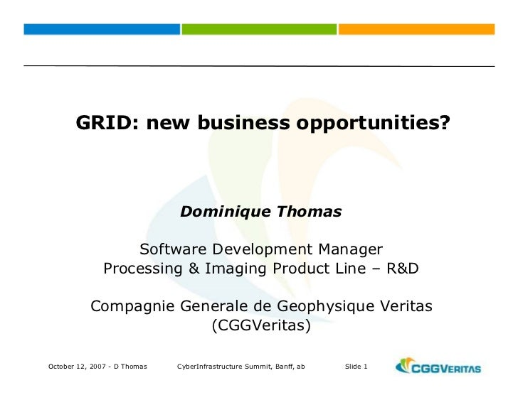 GRID: new business opportunities?                                  Dominique Thomas                     Software Developme...