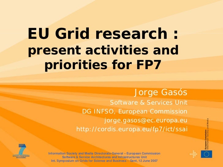 EU Grid research : present activities and   priorities for FP7                                                           J...