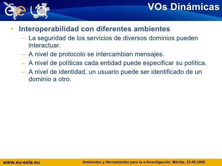 VOs Dinámicas <ul><li>Interoperabilidad con diferentes ambientes </li></ul><ul><ul><li>La seguridad de los servicios de di...