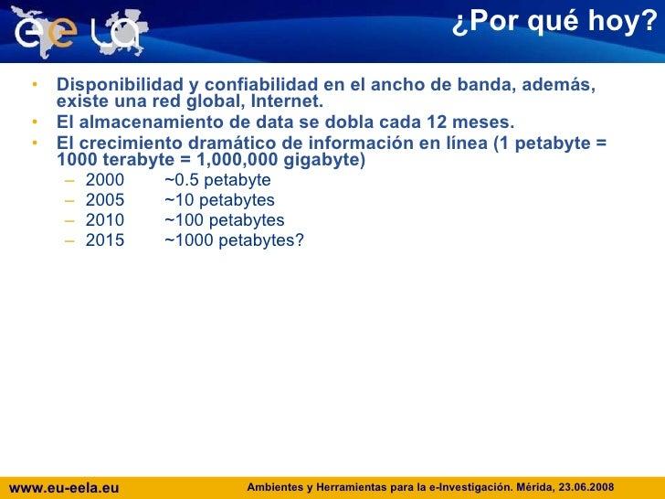 ¿ Por qué hoy? <ul><li>Disponibilidad y confiabilidad en el ancho de banda, además, existe una red global, Internet. </li>...