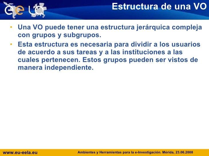 Estructura de una VO <ul><li>Una VO puede tener una estructura jerárquica compleja con grupos y subgrupos. </li></ul><ul><...
