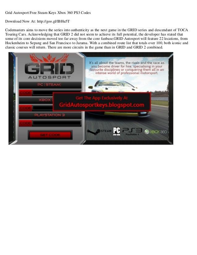 Grid autosport free steam keys xbox 360 ps3 codes