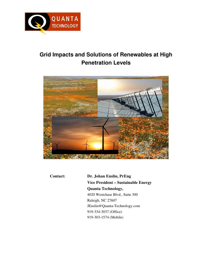 Grid Impacts and Solutions of Renewables at High                Penetration Levels        Contact:      Dr. Johan Enslin, ...