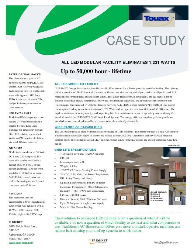CASE STUDY                                          ALL LED MODULAR FACILITY ELIMINATES 1,231 WATTSEXTERIOR WALLPACKS     ...