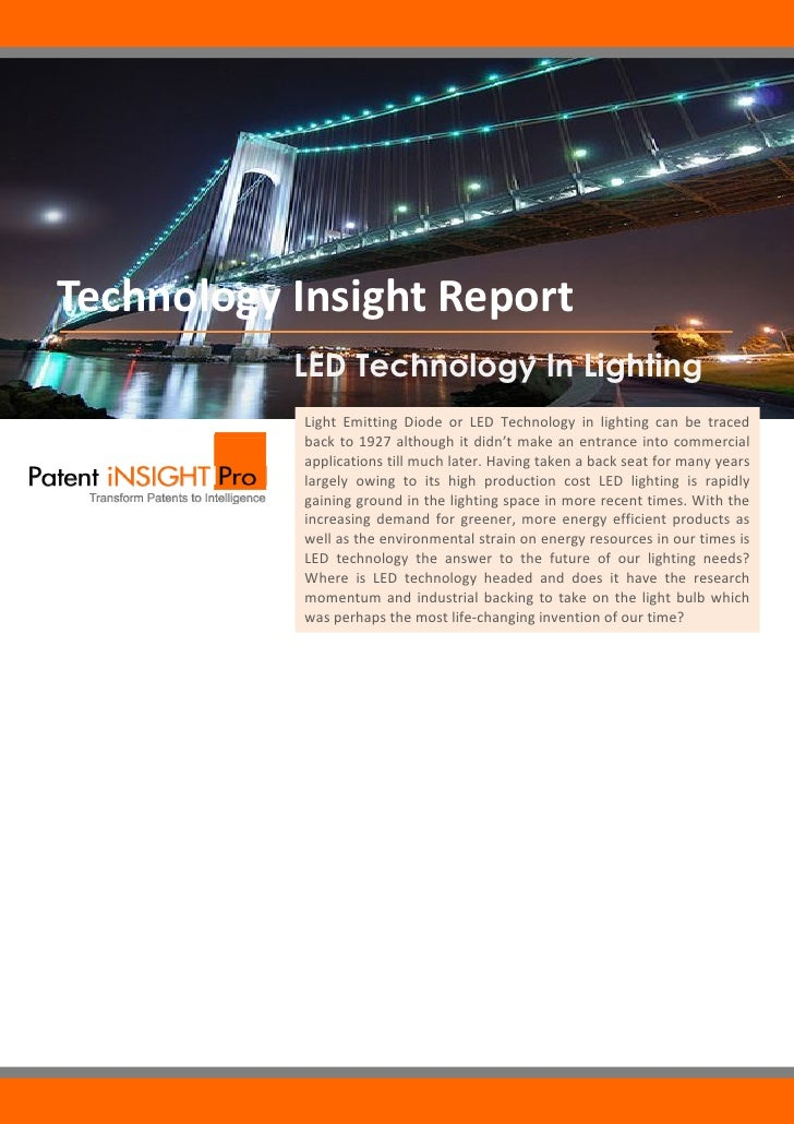 Technology Insight Report                      LED Technology In Lighting                        Light Emitting Diode ...