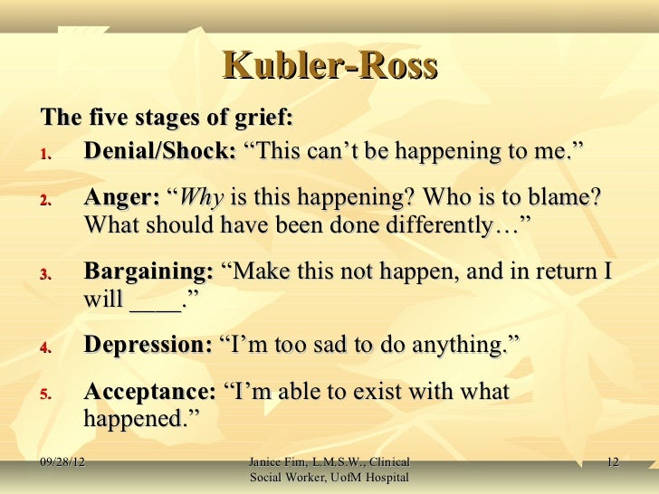 kubler ross stages of death and dying in the bucket list On death and dying [elisabeth kübler-ross] description  on the fear of death -- attitudes toward death and dying -- first stage: denial and isolation -- second.