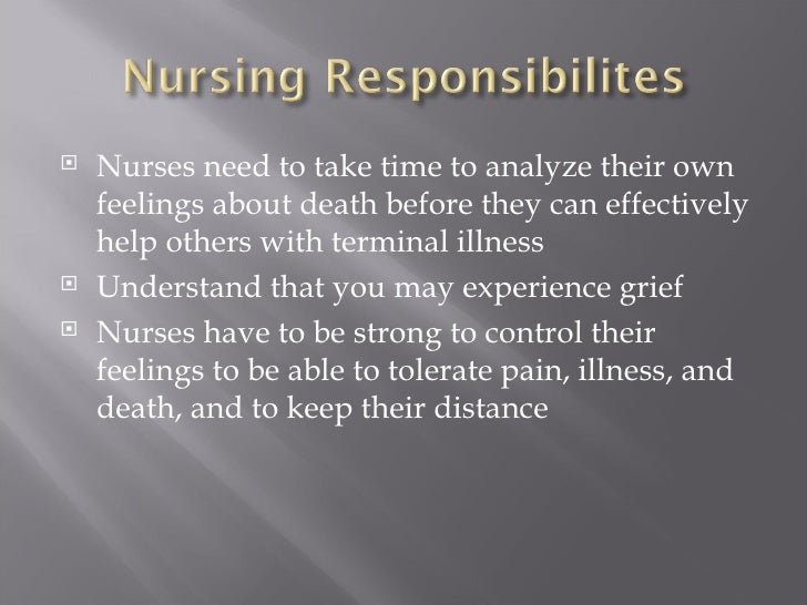<ul><li>Nurses need to take time to analyze their own feelings about death before they can effectively help others with te...