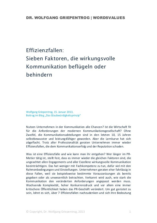 DR. WOLFGANG GRIEPENTROG | WORDSVALUESEffizienzfallen:Sieben Faktoren, die wirkungsvolleKommunikation beflügeln oderbehind...