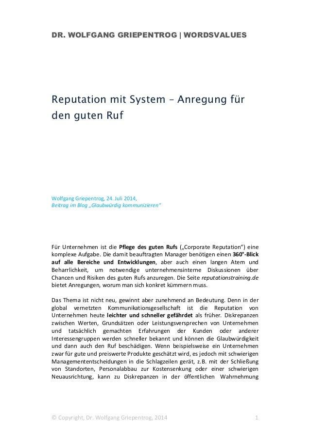 Reputation mit System – Anregung für den guten Ruf