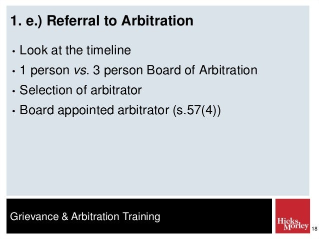 The process of selecting the arbitrator