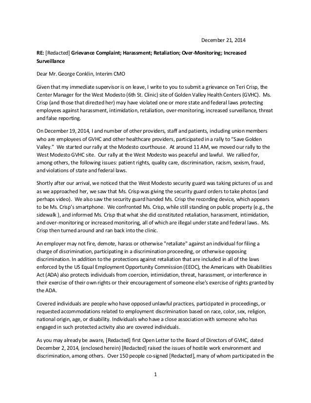 Sample Grievance Letter. 1 December 21, 2014 RE: [Redacted] Grievance  Complaint; Harassment; ...
