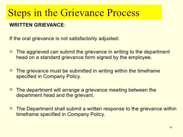 Grievance procedure -