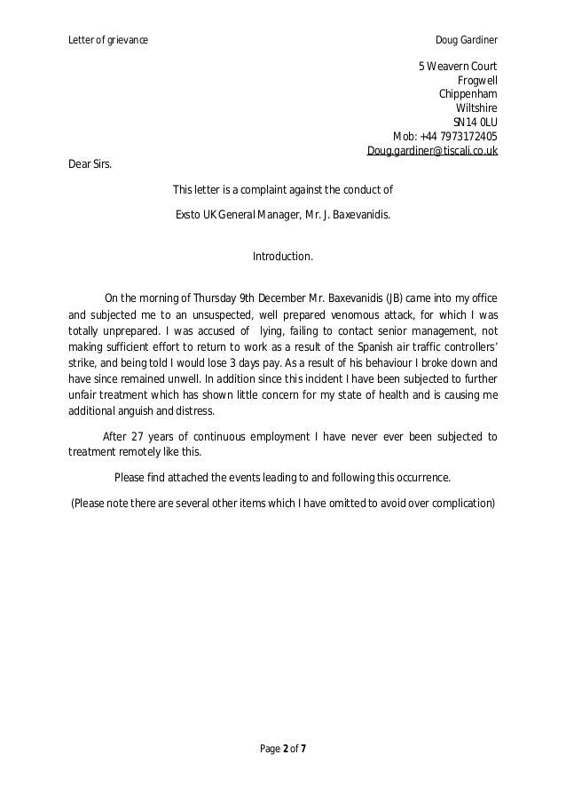 Employer Response To Grievance Letter