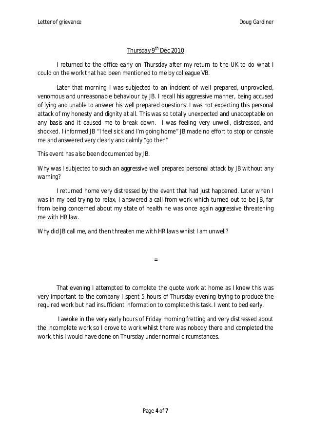Employee grievance douglas gardiner letter of grievance spiritdancerdesigns Image collections