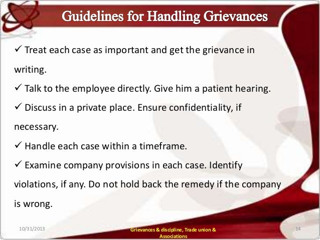 discipline grievance The acas code of practice on disciplinary and grievance procedures provides  essential guidelines for employment tribunals to follow during a disciplinary or.