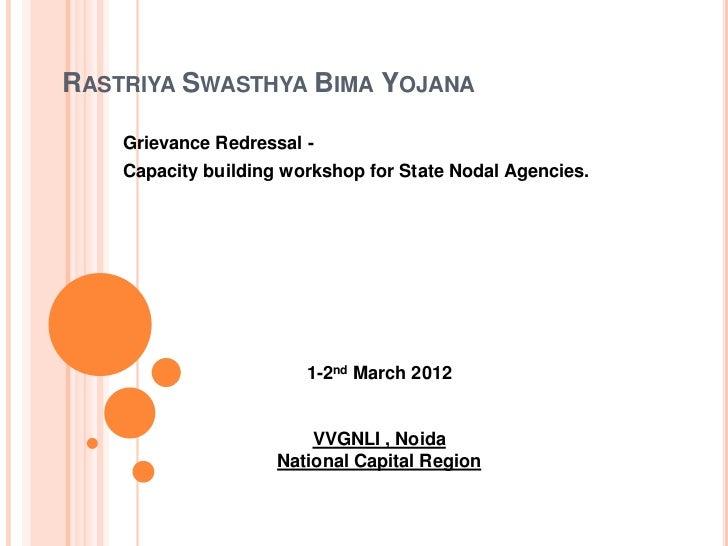 RASTRIYA SWASTHYA BIMA YOJANA    Grievance Redressal -    Capacity building workshop for State Nodal Agencies.            ...