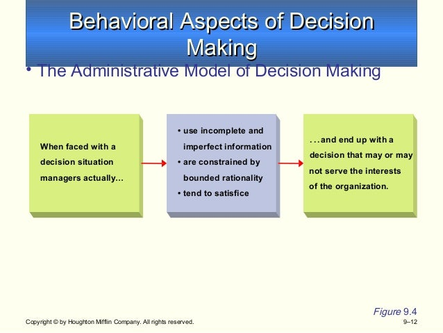 decision making behavio Introduction to the four decision making styles all of us make decisions everyday we make decisions as to where to eat and what to eat everyday on a business level, the managers make decisions, ranging from hiring and firing to merger and acquisitions.