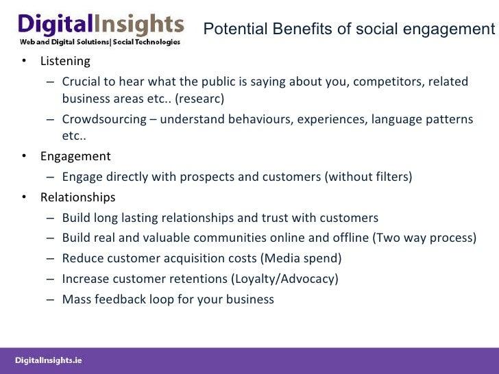 Potential Benefits of social engagement <ul><li>Listening </li></ul><ul><ul><li>Crucial to hear what the public is saying ...