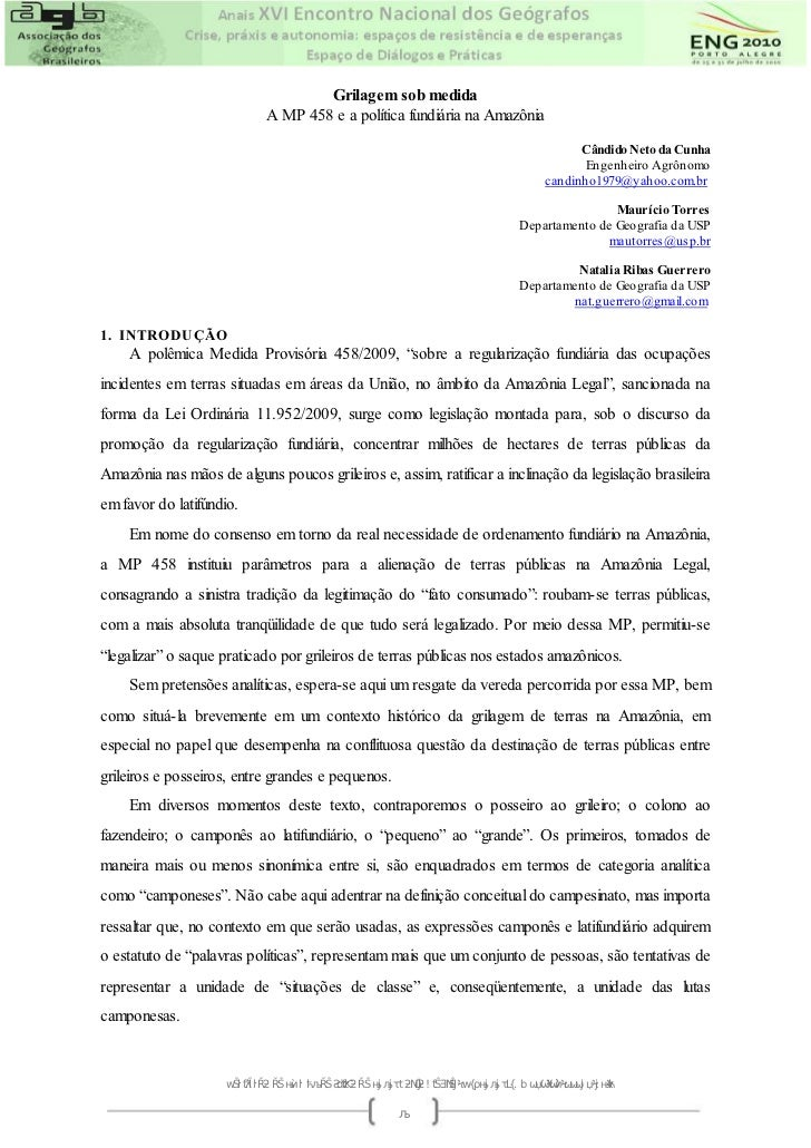 Grilagem sob medida                             A MP 458 e a política fundiária na Amazônia                               ...