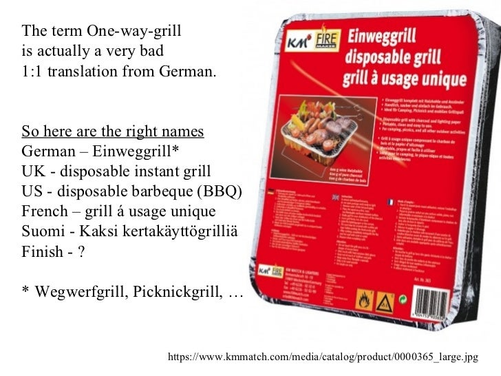 The term One-way-grill  is actually a very bad  1:1 translation from German. So here are the right names German – Einweggr...
