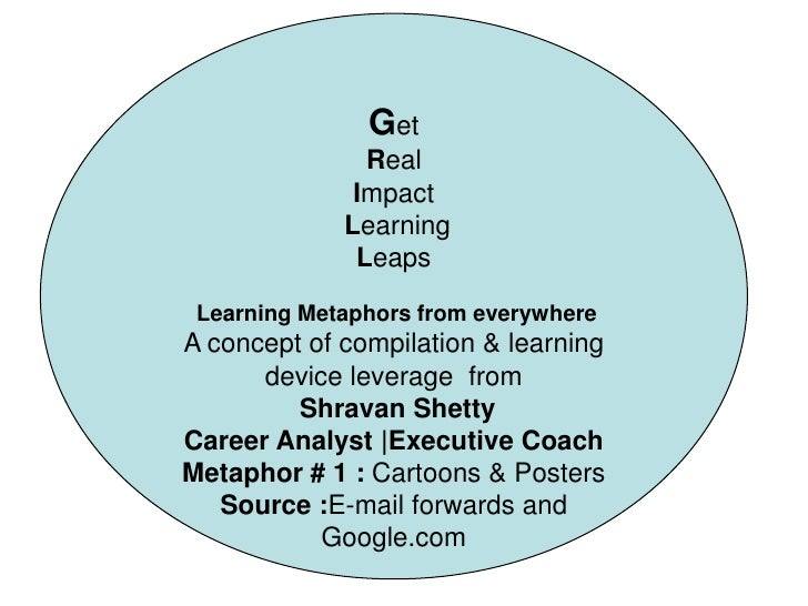 Get<br />Real<br />Impact<br /> Learning<br />Leaps<br />Learning Metaphors from everywhere<br />A concept of compilation ...