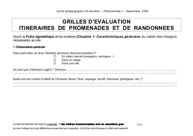 Outils pédagogiques d'évaluation « Randonnées » - Septembre 2005  GRILLES D'EVALUATION ITINERAIRES DE PROMENADES ET DE RAN...