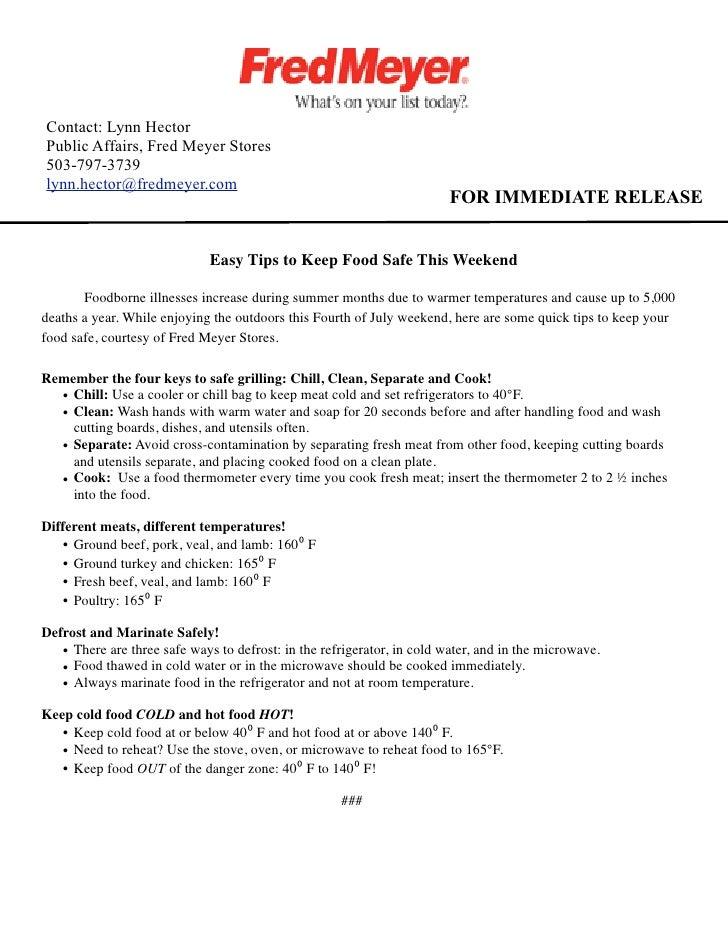 Contact: Lynn Hector Public Affairs, Fred Meyer Stores 503-797-3739 lynn.hector@fredmeyer.com                             ...