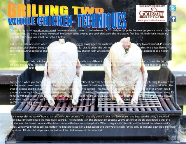 Chicken is my nationsmost popular meat however when it comes to the barbecue it's probably less popular because people are...