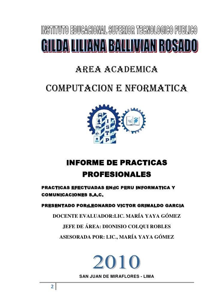 AREA ACADEMICA<br />COMPUTACION E NFORMATICA<br />1589405162560<br />INFORME DE PRACTICAS PROFESIONALES<br />PRACTICAS EFE...