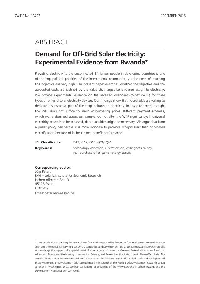 Demand for Off-Grid Solar Electricity: Experimental Evidence from Rwanda Slide 3