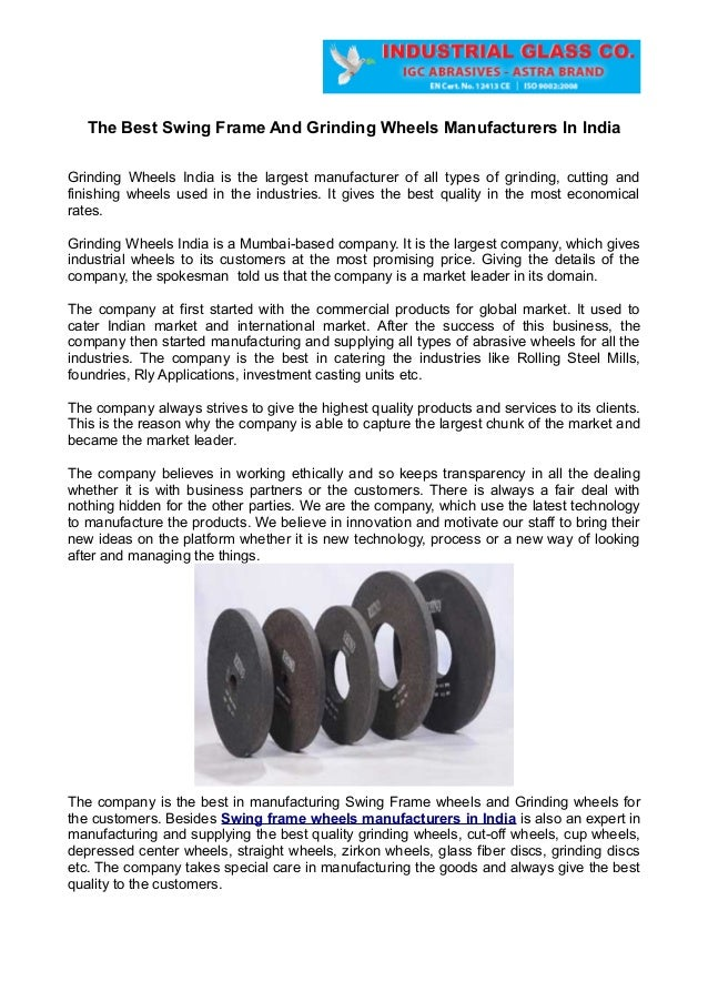 The Best Swing Frame And Grinding Wheels Manufacturers In India