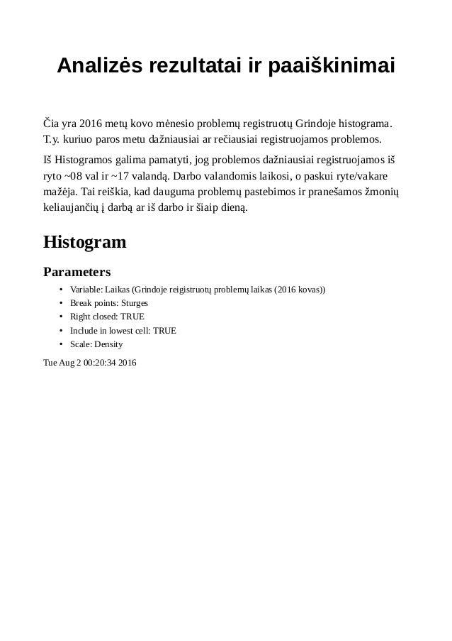 Analizės rezultatai ir paaiškinimai Čia yra 2016 metų kovo mėnesio problemų registruotų Grindoje histograma. T.y. kuriuo p...
